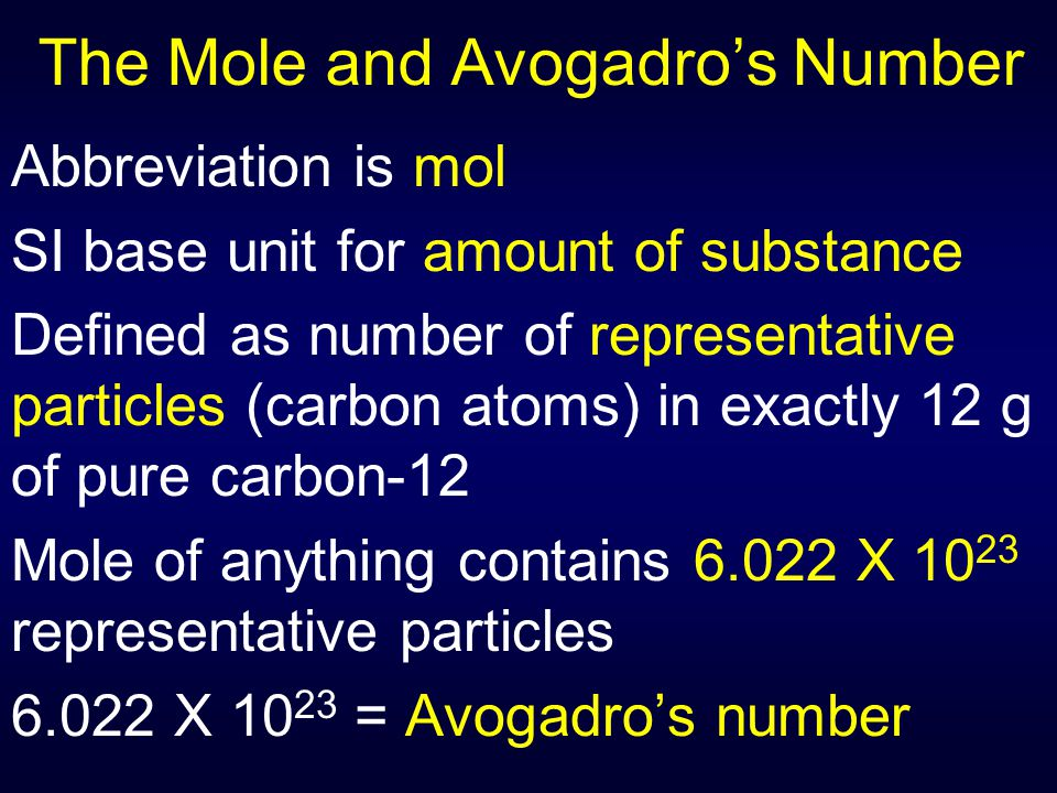 The Mole Examples of representative particles: AtomsIonsElectronsMolecules Formula Units
