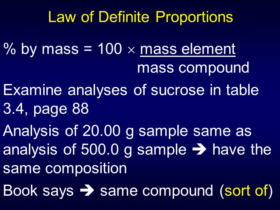Law of Definite Proportions % by mass = 100  mass element mass compound Examine analyses of sucrose in table 3.4, page 88 Analysis of 20.00 g sample
