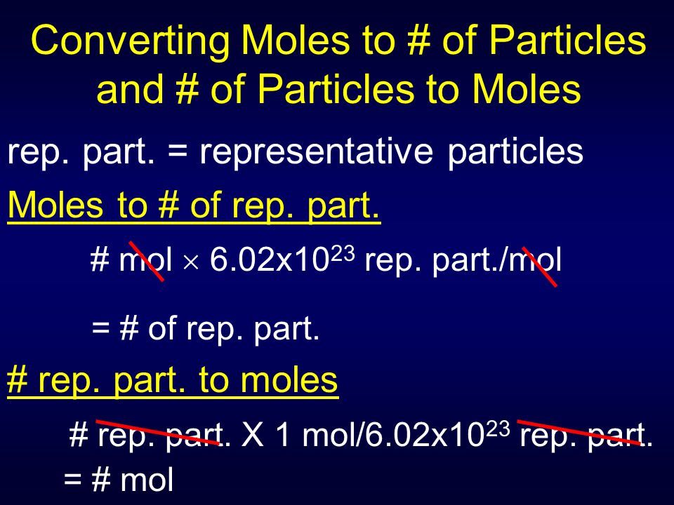 Converting Moles to # of Particles and # of Particles to Moles rep. part. = representative particles Moles to # of rep. part. # mol  6.02x10 23 rep.
