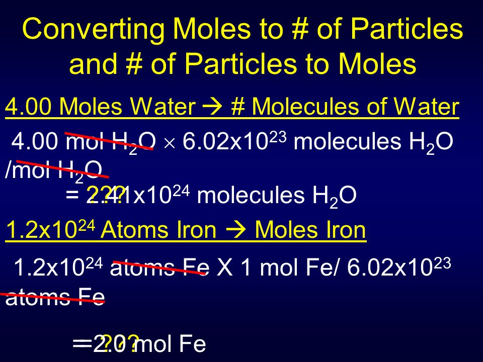 = ??? Converting Moles to # of Particles and # of Particles to Moles 4.00 Moles Water  # Molecules of Water 4.00 mol H 2 O  6.02x10 23 molecules H 2
