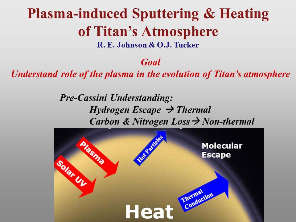 Plasma-induced Sputtering & Heating of Titan's Atmosphere R. E. Johnson & O.J. Tucker Goal Understand role of the plasma in the evolution of Titan's a