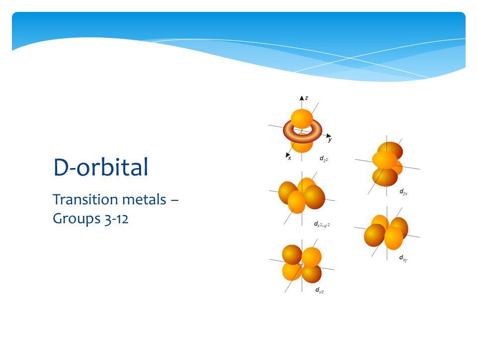 Transition metals – Groups 3-12 D-orbital