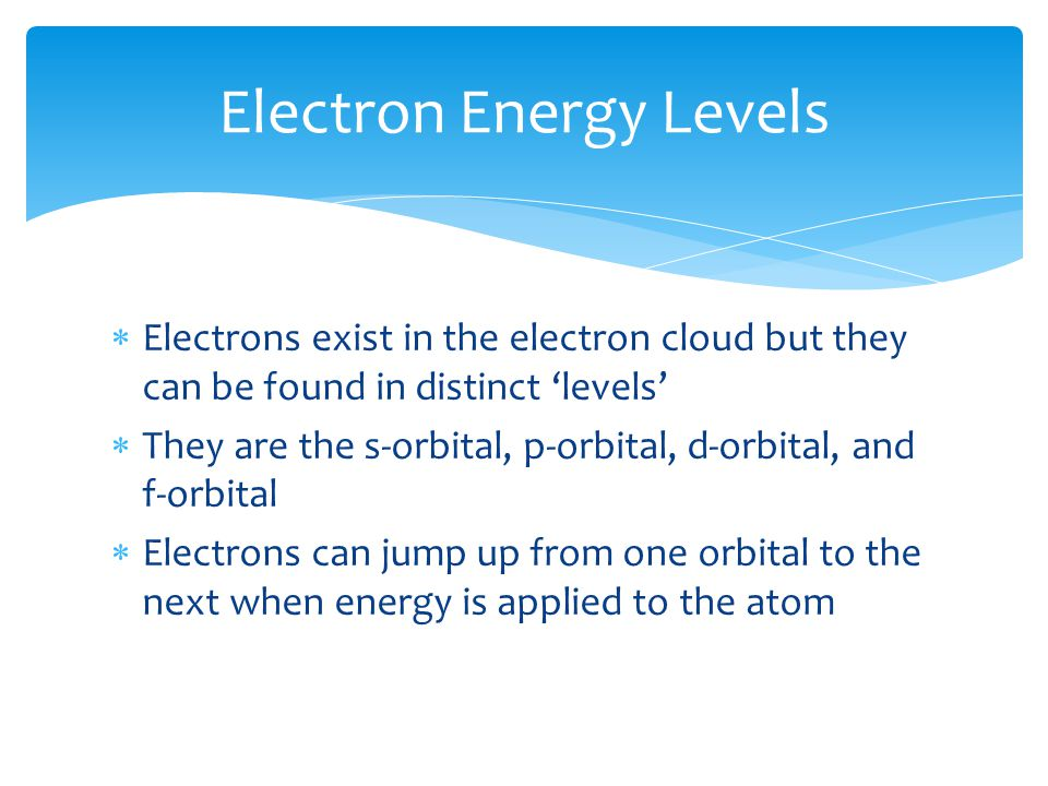  Electrons exist in the electron cloud but they can be found in distinct 'levels'  They are the s-orbital, p-orbital, d-orbital, and f-orbital  Ele