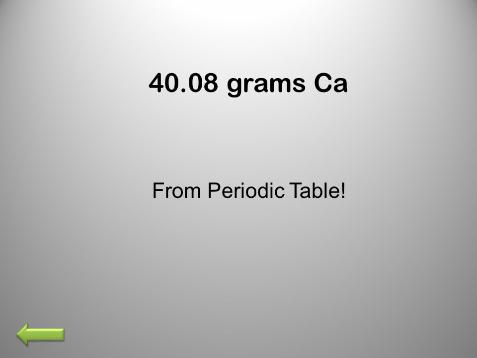 40.08 grams Ca From Periodic Table!
