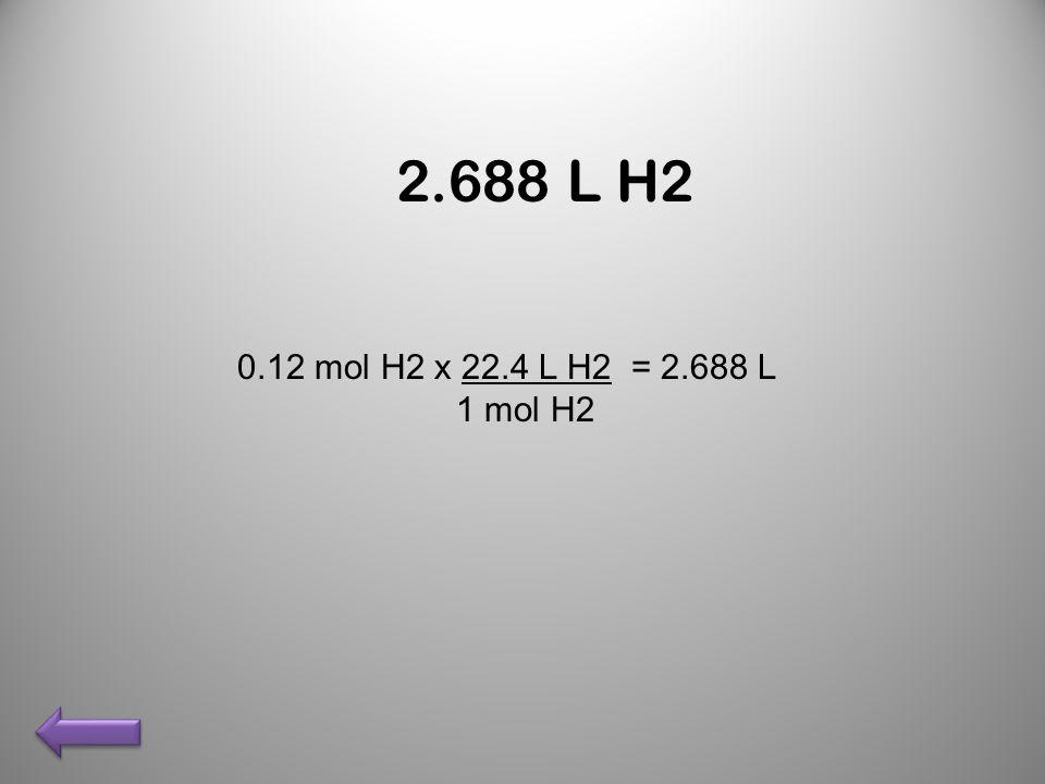 2.688 L H2 0.12 mol H2 x 22.4 L H2 = 2.688 L 1 mol H2
