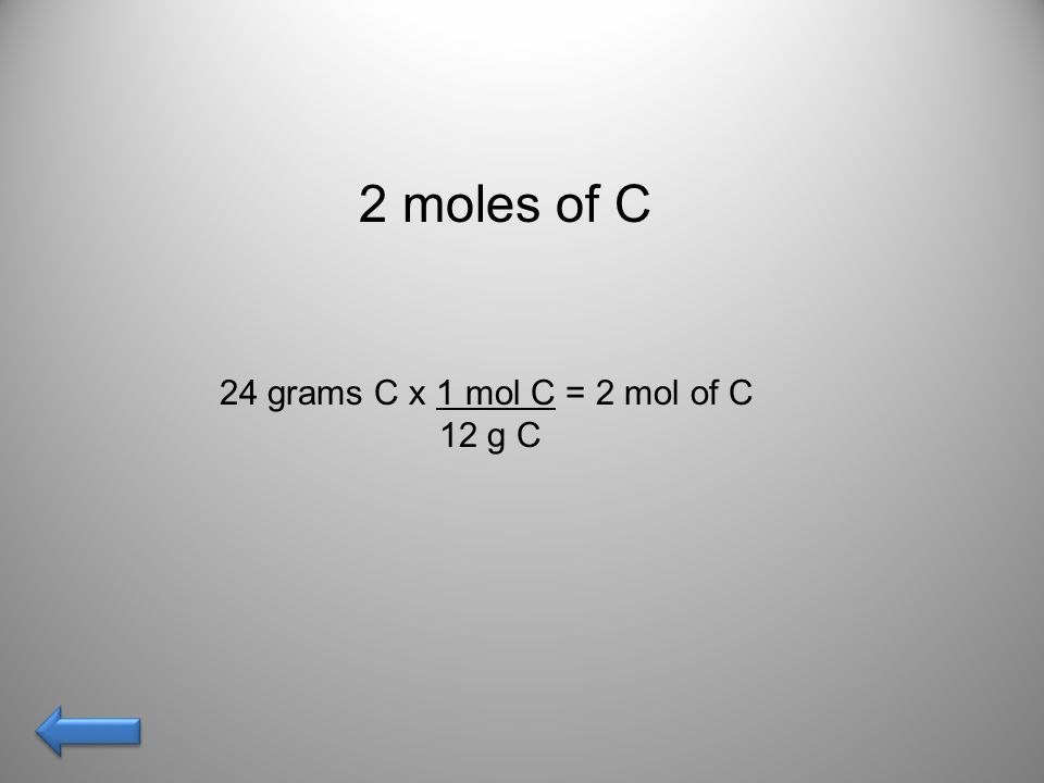 The number of moles in 48 grams of oxygen gas… AnswerAnswer!