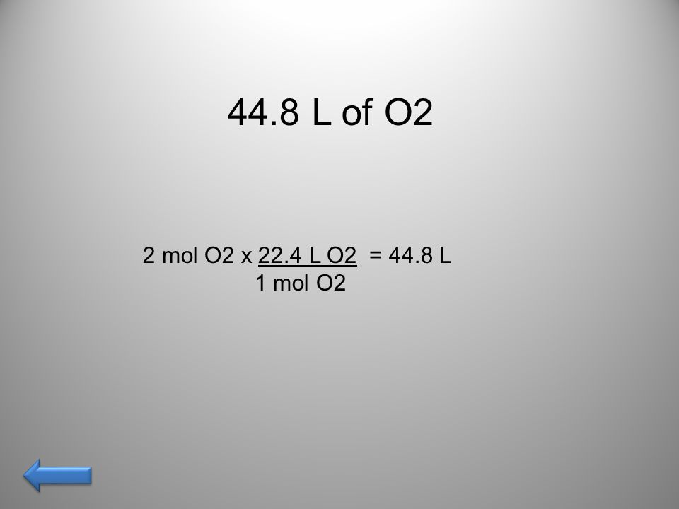 The volume in L of gas evolved from 98 grams of H2O… AnswerAnswer!