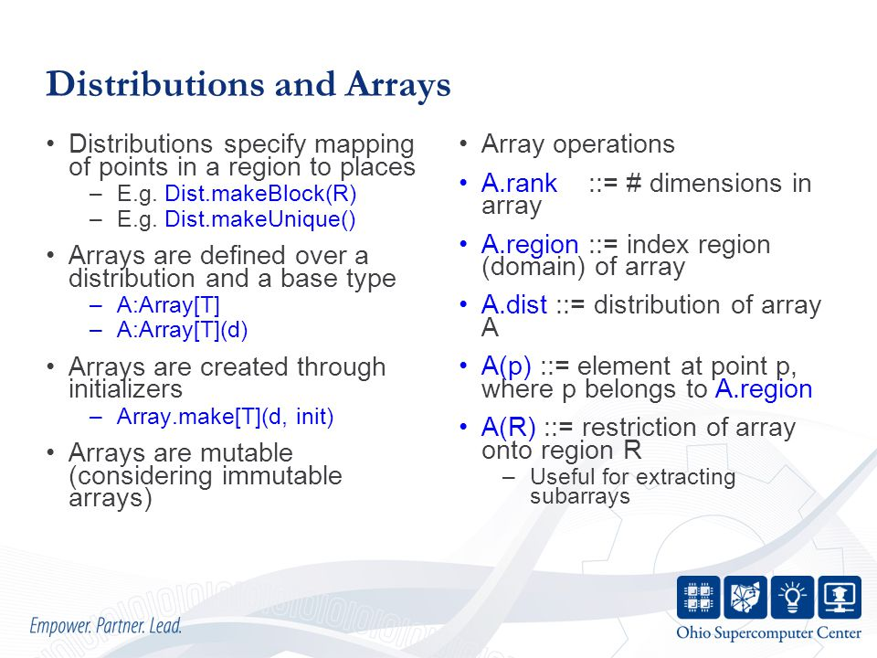 Distributions and Arrays Distributions specify mapping of points in a region to places –E.g.