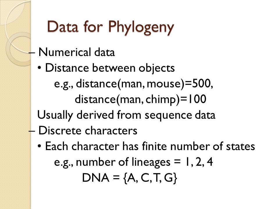 Data for Phylogeny – Numerical data Distance between objects e.g., distance(man, mouse)=500, distance(man, chimp)=100 Usually derived from sequence da