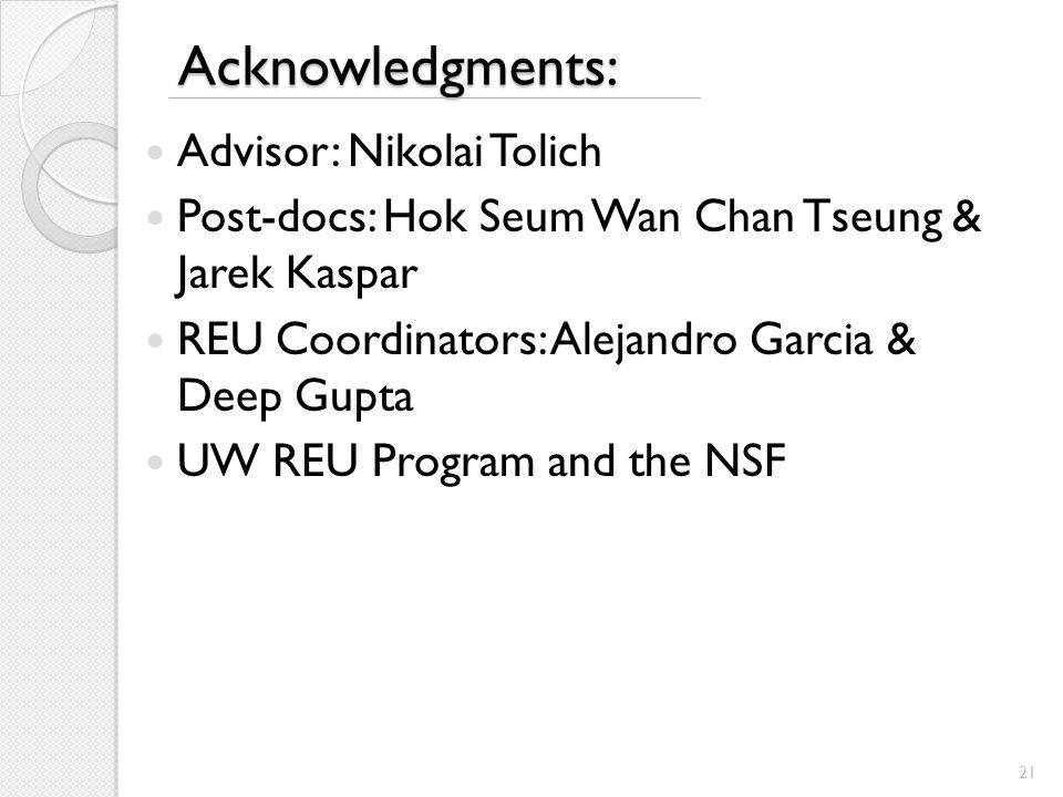 Acknowledgments: Advisor: Nikolai Tolich Post-docs: Hok Seum Wan Chan Tseung & Jarek Kaspar REU Coordinators: Alejandro Garcia & Deep Gupta UW REU Program and the NSF 21
