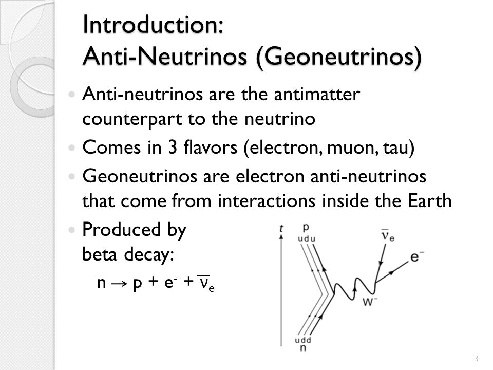 Introduction: Anti-Neutrinos (Geoneutrinos) Anti-neutrinos are the antimatter counterpart to the neutrino Comes in 3 flavors (electron, muon, tau) Geoneutrinos are electron anti-neutrinos that come from interactions inside the Earth Produced by beta decay: n p + e - + ν e 3