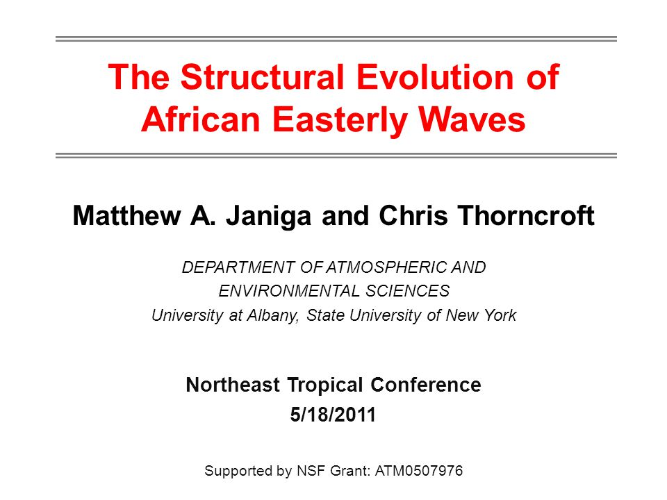 The Structural Evolution of African Easterly Waves Matthew A.
