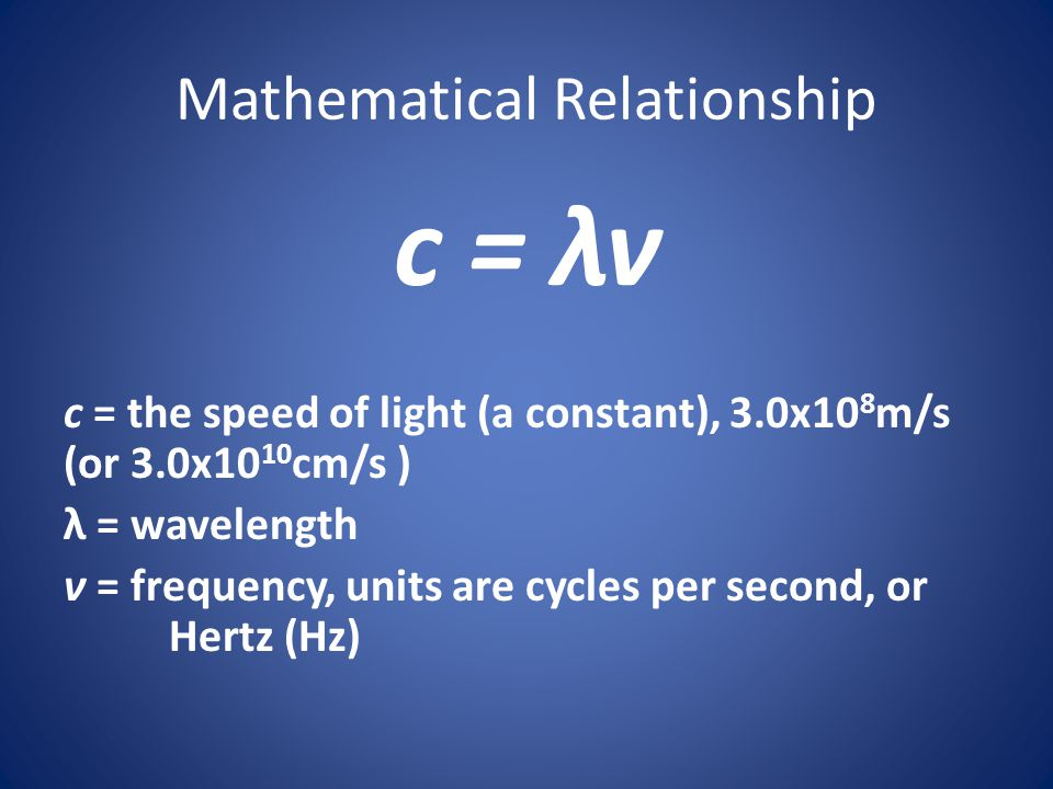 Mathematical Relationship c = λν c = the speed of light (a constant), 3.0x10 8 m/s (or 3.0x10 10 cm/s ) λ = wavelength ν = frequency, units are cycles