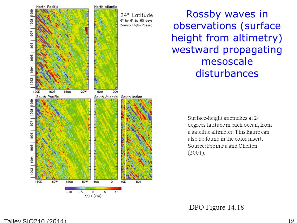 Rossby waves in observations (surface height from altimetry) westward propagating mesoscale disturbances Talley SIO210 (2014) Surface-height anomalies