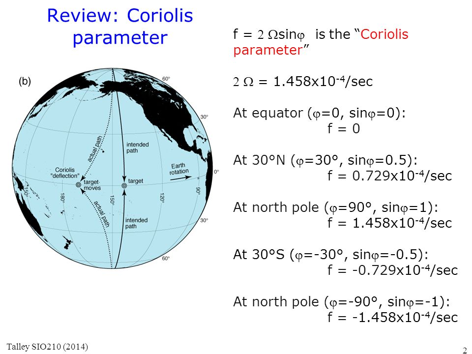 "Review: Coriolis parameter f = sinis the ""Coriolis parameter""  = 1.458x10 -4 /sec At equator (=0, sin=0): f = 0 At 30°N (=30°, sin=0.5):"