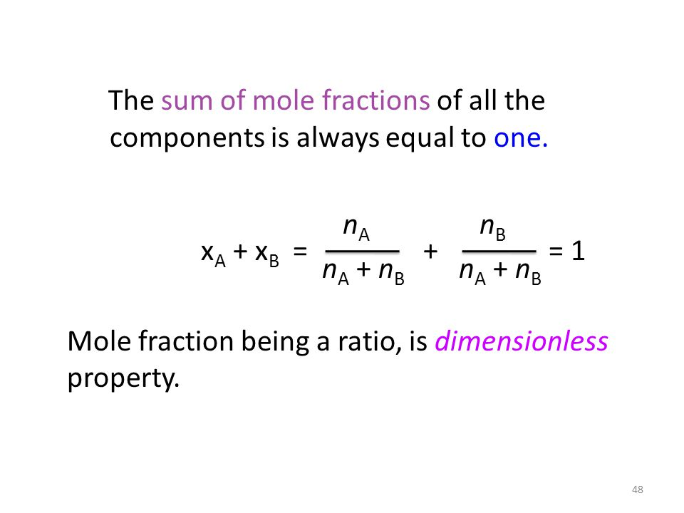 The sum of mole fractions of all the components is always equal to one.
