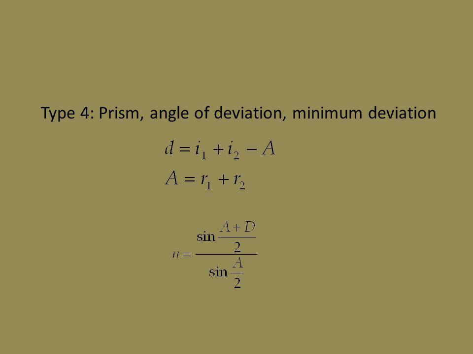 Type 4: Prism, angle of deviation, minimum deviation