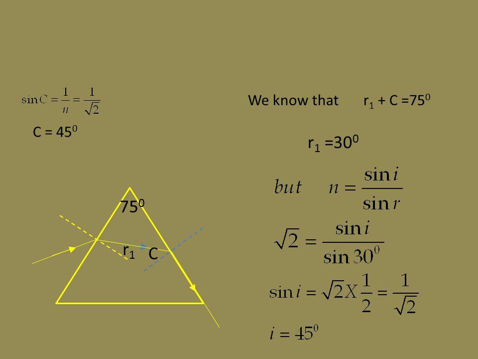 C = 45 0 r1r1 C 75 0 We know that r 1 + C =75 0 r 1 =30 0