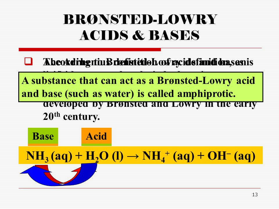 13 BRØNSTED-LOWRY ACIDS & BASES  The Arrhenius definition of acids and bases is limited to aqueous solutions.  A broader definition of acids and bas