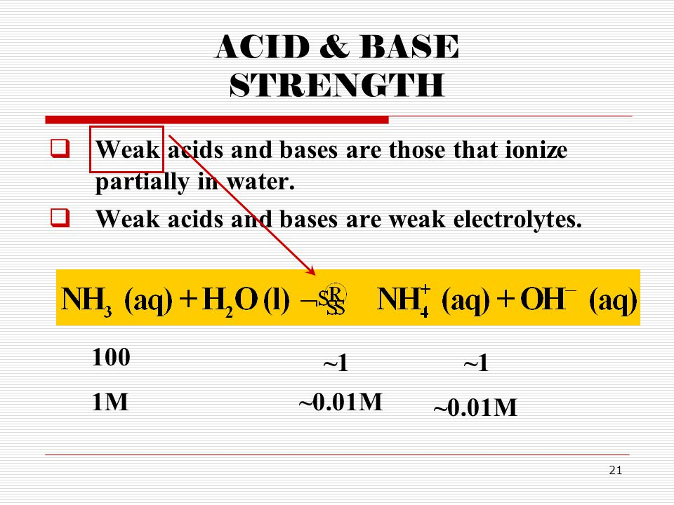 21 ACID & BASE STRENGTH  Weak acids and bases are those that ionize partially in water.  Weak acids and bases are weak electrolytes. 100 ~1~1~1~1 1M