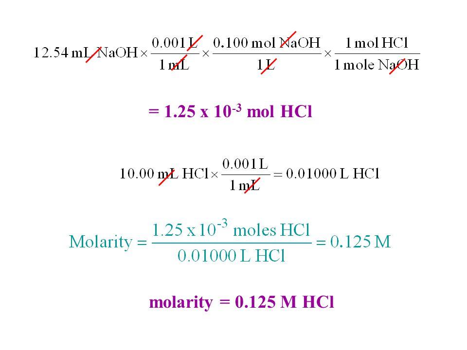 = 1.25 x 10 -3 mol HCl molarity = 0.125 M HCl