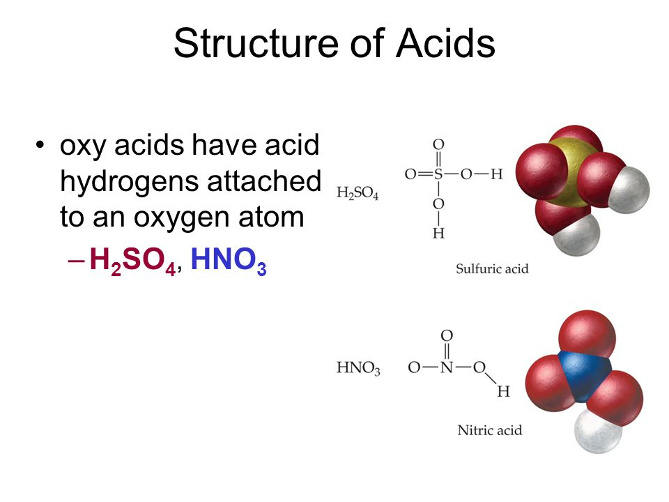 oxy acids have acid hydrogens attached to an oxygen atom –H 2 SO 4, HNO 3