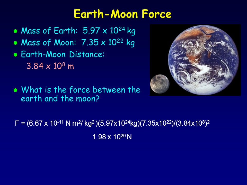 Earth-Moon Force l Mass of Earth: 5.97 x 10 24 kg l Mass of Moon: 7.35 x 10 22 kg l Earth-Moon Distance: 3.84 x 10 8 m l What is the force between the earth and the moon.