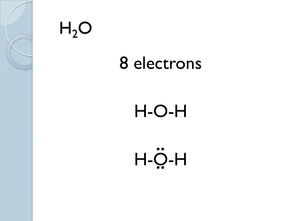 H 2 O H 2 O 8 electrons H-O-H