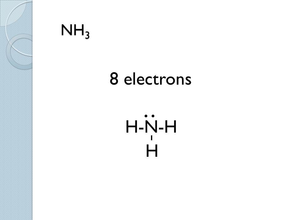 NH 3 NH 3 8 electrons H-N-H H