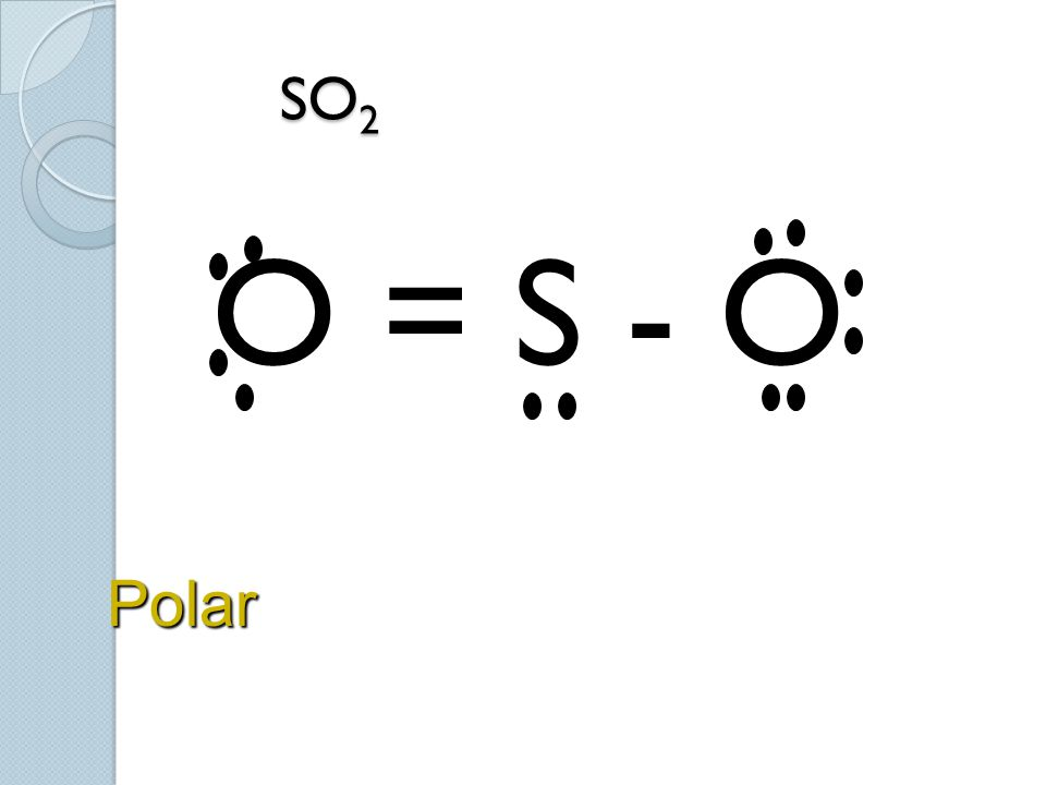 SO 2 SO 2 O = S - O Polar