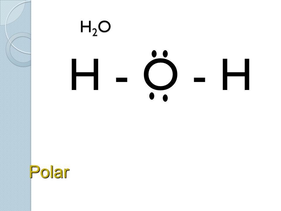 H 2 O H 2 O H - O - H Polar