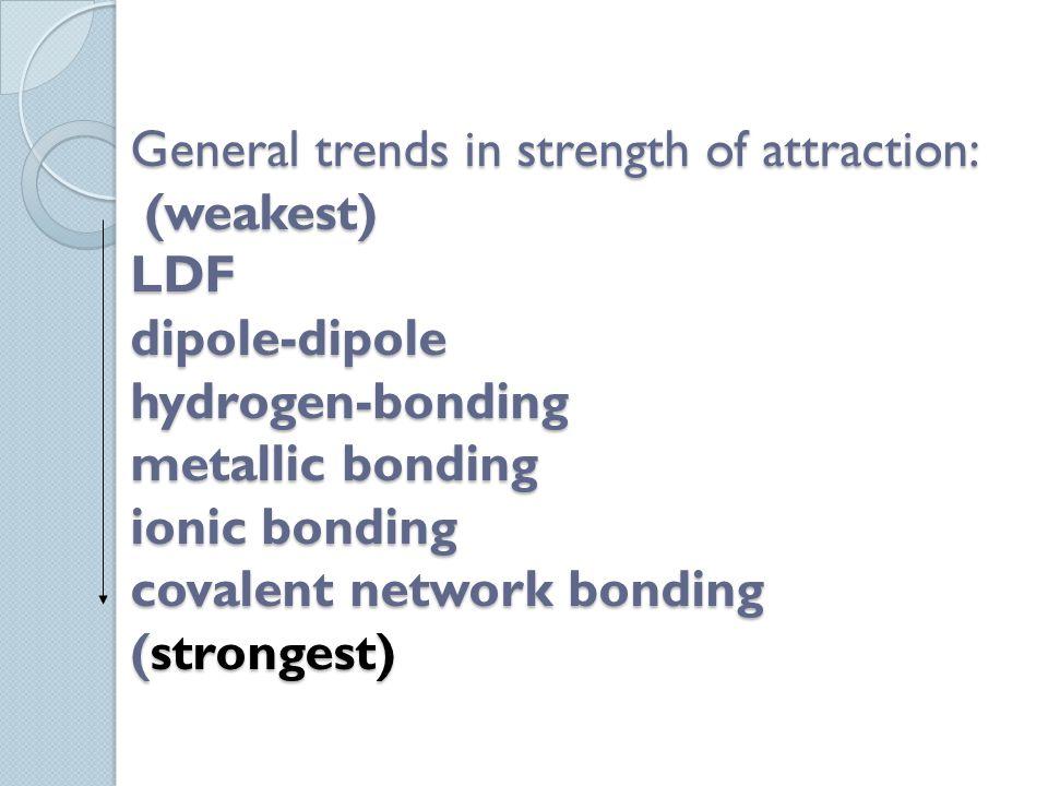 General trends in strength of attraction: (weakest) LDF dipole-dipole hydrogen-bonding metallic bonding ionic bonding covalent network bonding (strong