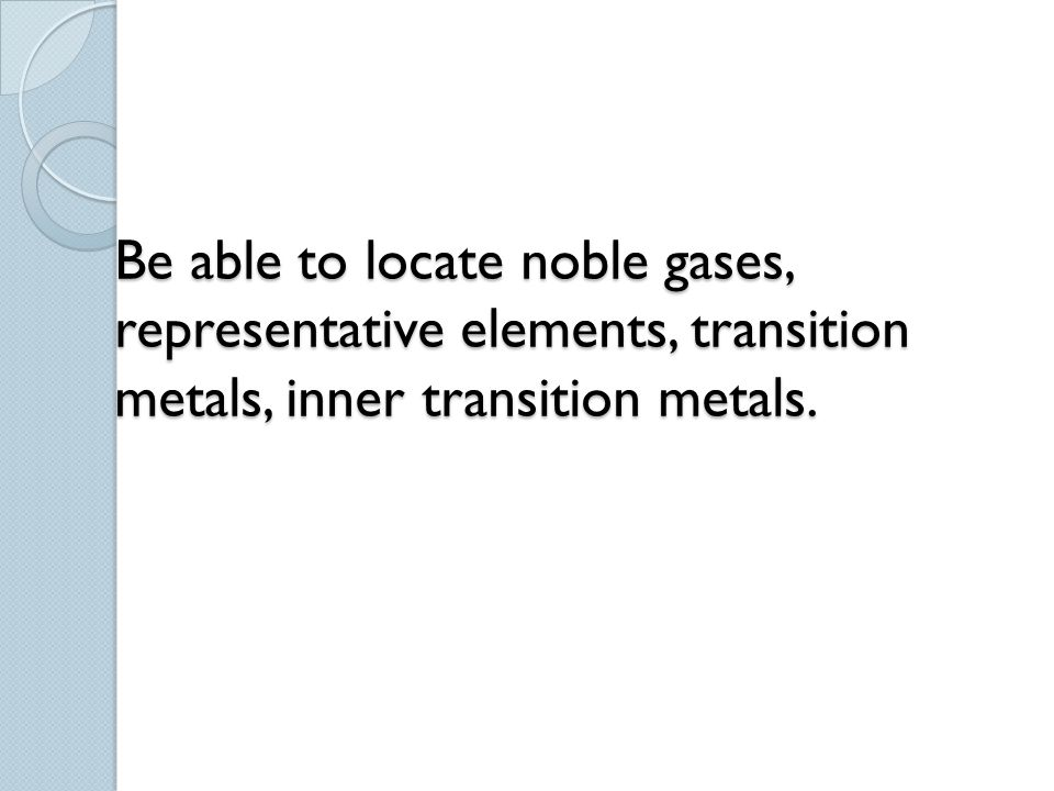 Be able to locate noble gases, representative elements, transition metals, inner transition metals.
