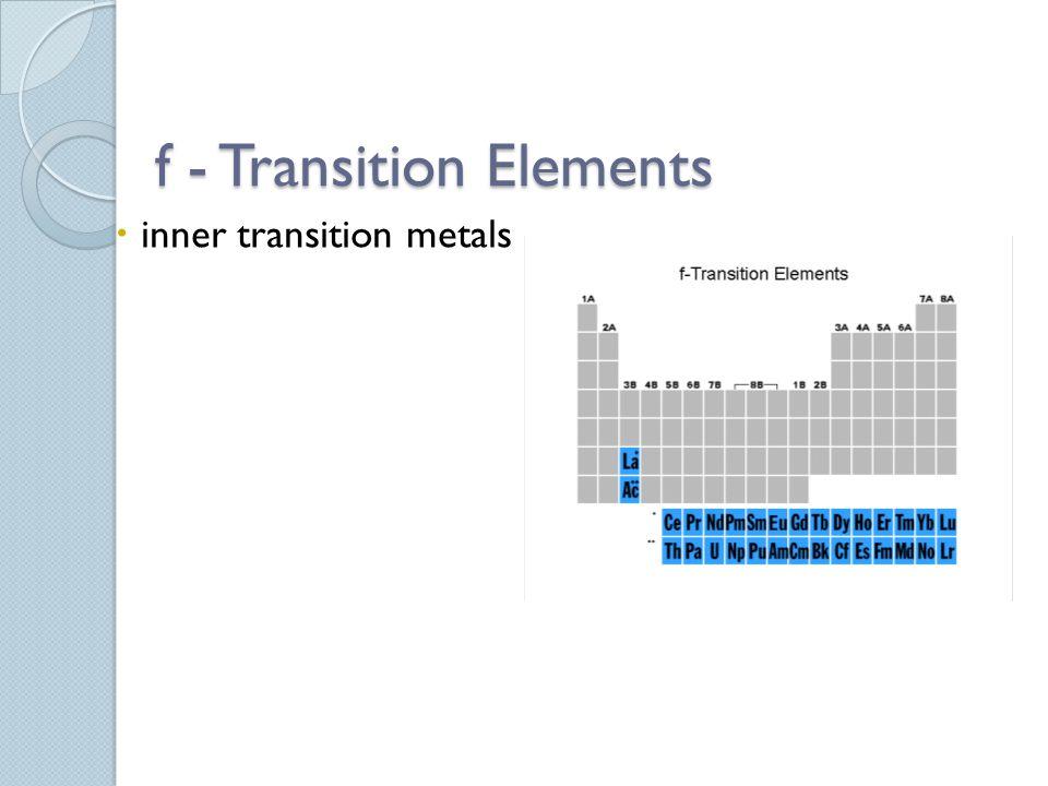 f - Transition Elements  inner transition metals