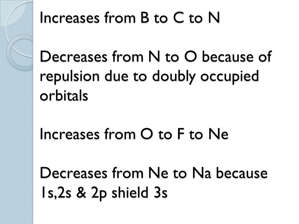 Increases from B to C to N Decreases from N to O because of repulsion due to doubly occupied orbitals Increases from O to F to Ne Decreases from Ne to