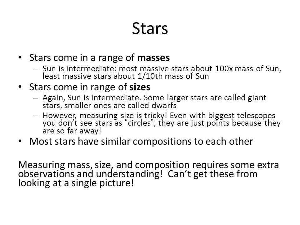 Stars Stars come in a range of masses – Sun is intermediate: most massive stars about 100x mass of Sun, least massive stars about 1/10th mass of Sun Stars come in range of sizes – Again, Sun is intermediate.