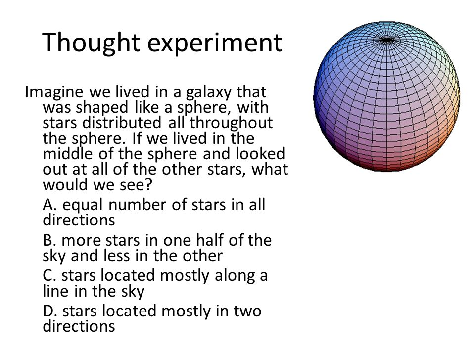 Thought experiment Imagine we lived in a galaxy that was shaped like a sphere, with stars distributed all throughout the sphere.
