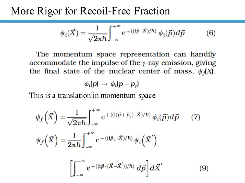 More Rigor for Recoil-Free Fraction This is a translation in momentum space