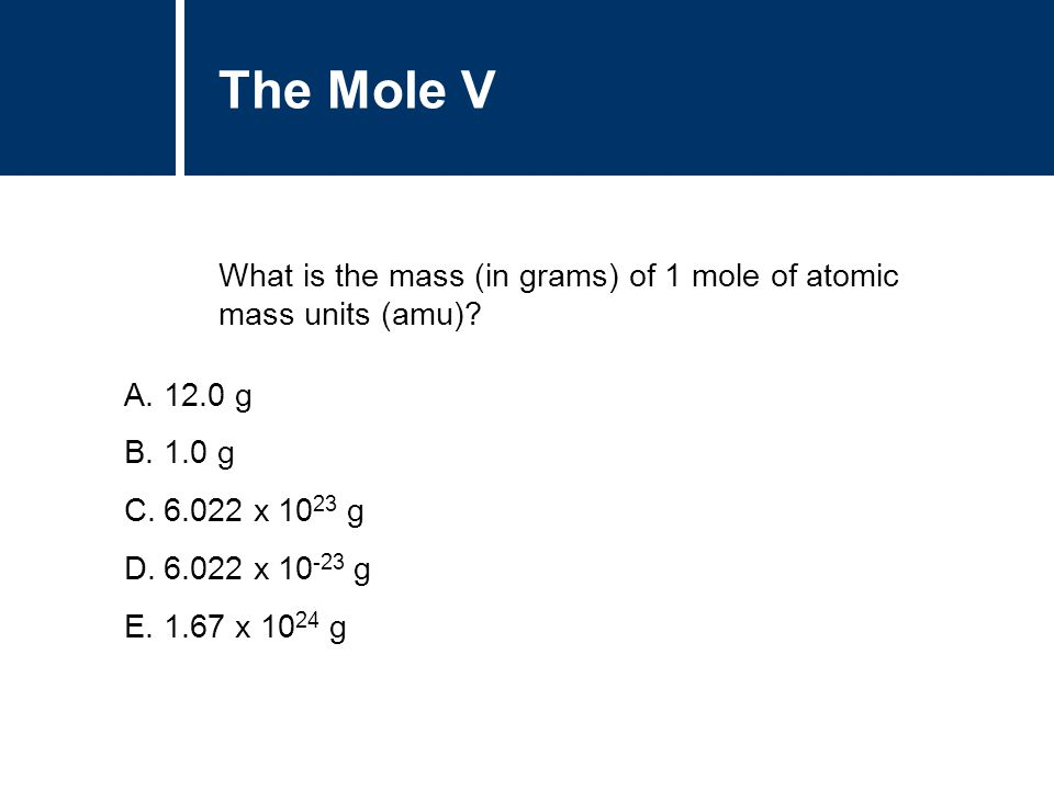 A.12.0 g B.1.0 g C.6.022 x 10 23 g D.6.022 x 10 -23 g E.1.67 x 10 24 g The Mole V What is the mass (in grams) of 1 mole of atomic mass units (amu)