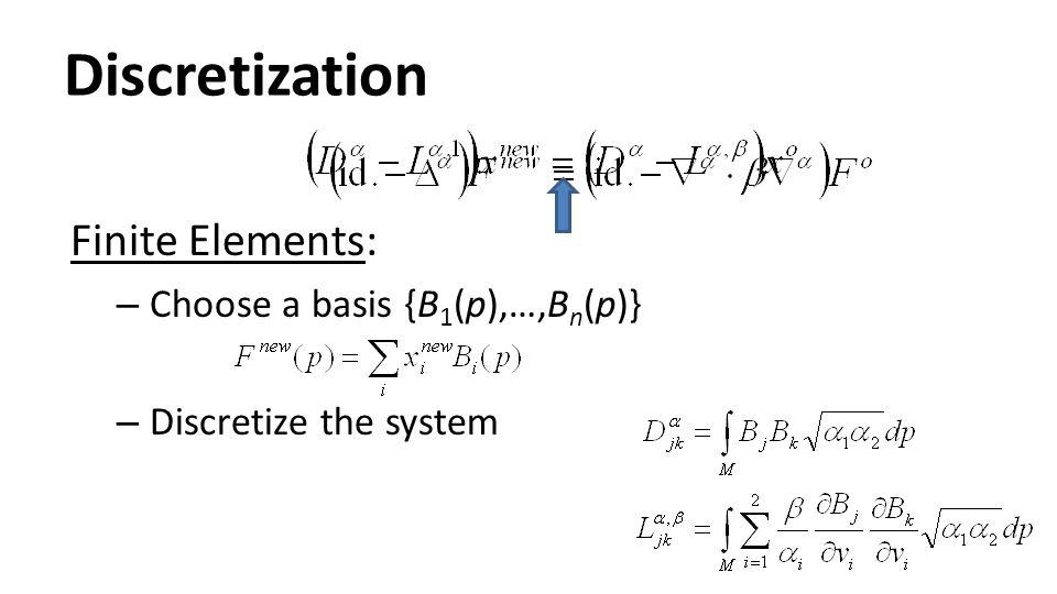 Discretization Finite Elements: – Choose a basis {B 1 (p),…,B n (p)} – Discretize the system
