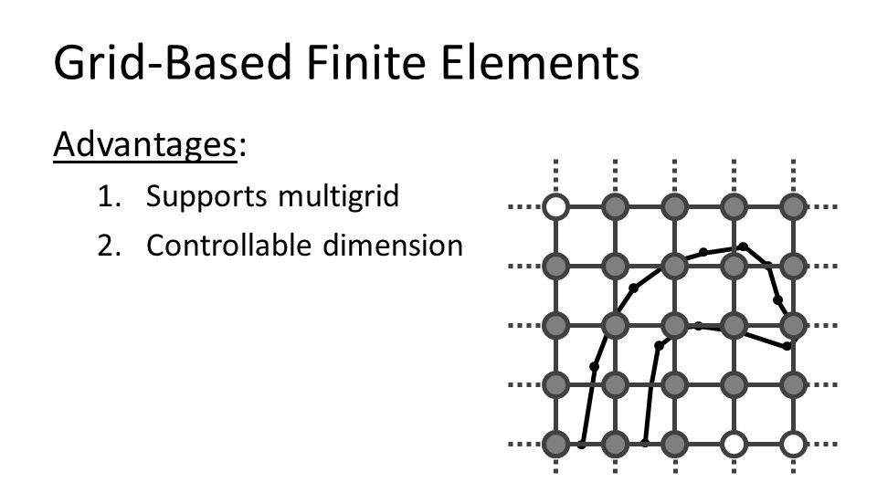 Grid-Based Finite Elements Advantages: 1.Supports multigrid 2.Controllable dimension