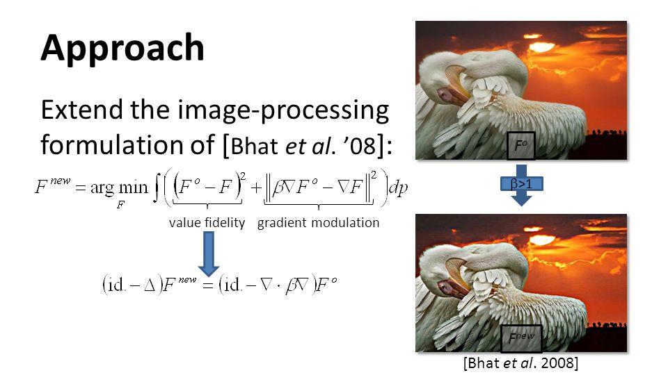 Approach Extend the image-processing formulation of [ Bhat et al. '08 ]: [Bhat et al. 2008]  >1 value fidelitygradient modulation FoFo F new