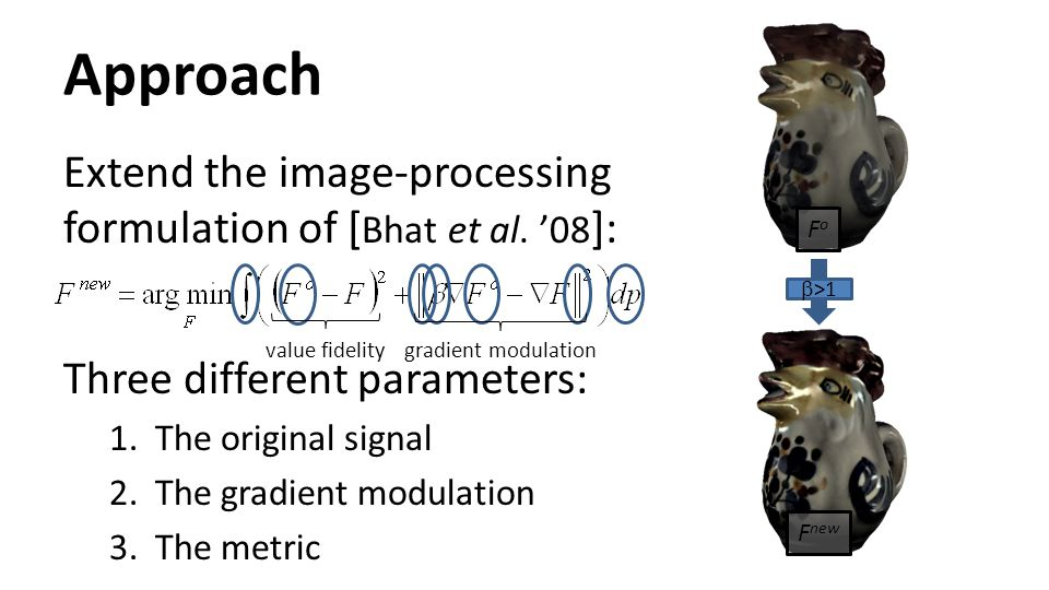 Approach Extend the image-processing formulation of [ Bhat et al. '08 ]: Three different parameters: 1.The original signal 2.The gradient modulation 3