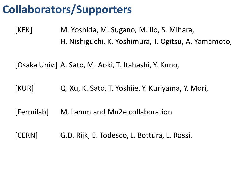 Collaborators/Supporters [KEK] M. Yoshida, M. Sugano, M. Iio, S. Mihara, H. Nishiguchi, K. Yoshimura, T. Ogitsu, A. Yamamoto, [Osaka Univ.]A. Sato, M.