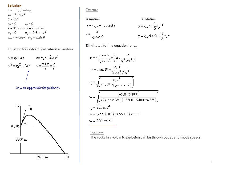 8 Solution Identify / setup v 0 = .