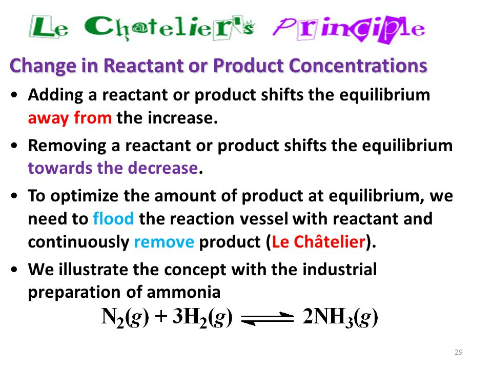 29 Change in Reactant or Product Concentrations Adding a reactant or product shifts the equilibrium away from the increase. Removing a reactant or pro