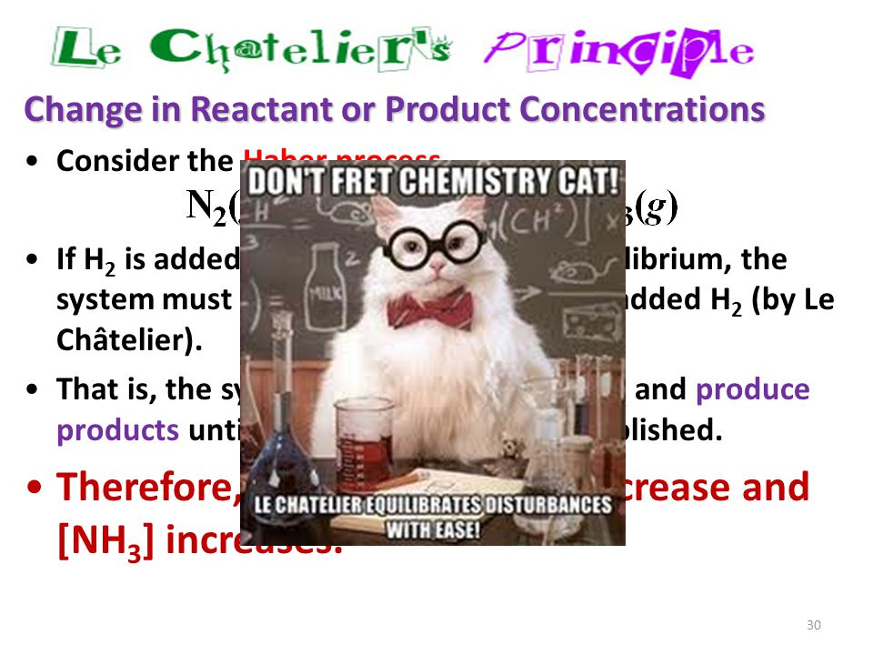 30 Change in Reactant or Product Concentrations Consider the Haber process If H 2 is added while the system is at equilibrium, the system must respond