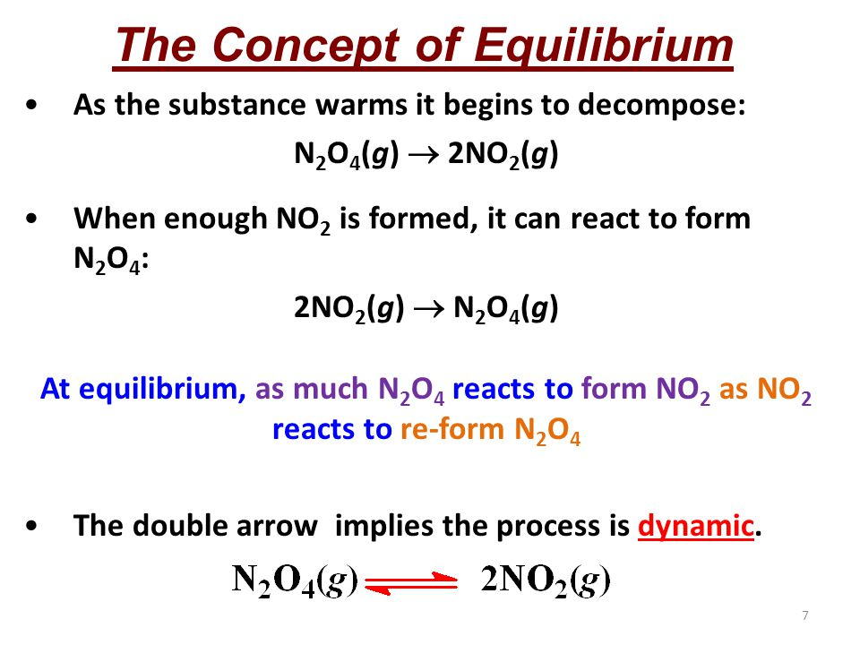 7 The Concept of Equilibrium As the substance warms it begins to decompose: N 2 O 4 (g)  2NO 2 (g) When enough NO 2 is formed, it can react to form N 2 O 4 : 2NO 2 (g)  N 2 O 4 (g) At equilibrium, as much N 2 O 4 reacts to form NO 2 as NO 2 reacts to re-form N 2 O 4 The double arrow implies the process is dynamic.