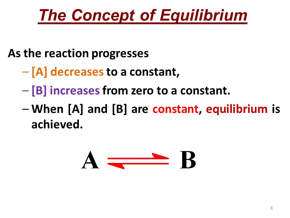 8 The Concept of Equilibrium As the reaction progresses –[A] decreases to a constant, –[B] increases from zero to a constant.