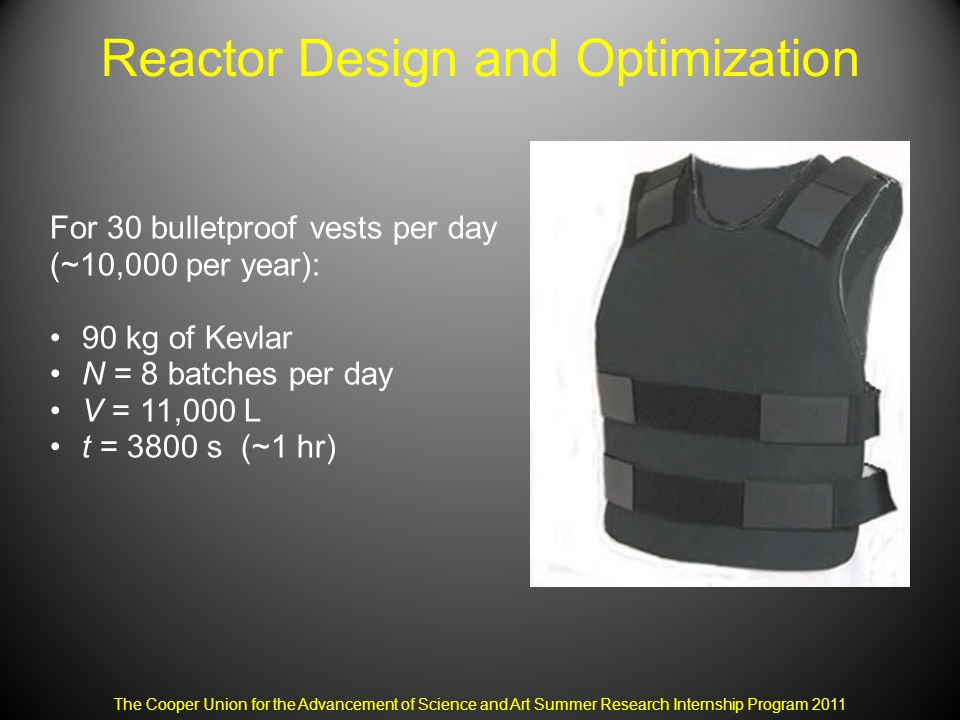 Reactor Design and Optimization The Cooper Union for the Advancement of Science and Art Summer Research Internship Program 2011 For 30 bulletproof vests per day (~10,000 per year): 90 kg of Kevlar N = 8 batches per day V = 11,000 L t = 3800 s (~1 hr)